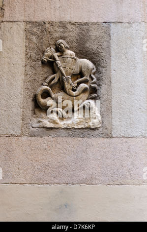 The Sant Jordi (St. George), the dragon slayer, is the patron saint of Catalonia. Sant Jordi's feast day is celebrated - Stock Photo