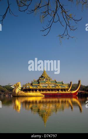 The Karaweik Royal Barge on the eastern shore of Kandawgyi Lake, Yangon, Myanmar - Stock Photo