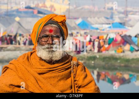 Hindu pilgrim at the Kumbh Mela, Allahabad, India - Stock Photo