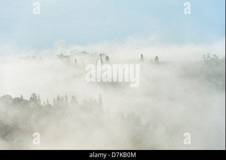A landscape in Tuscany, Italy. Early morning mist covers the hills outside Florence - Stock Photo