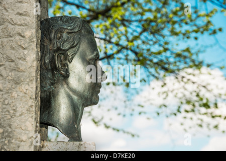 Sculpture of King Ludwig at Chiemsee in Prien, Germany with bright sun - Stock Photo