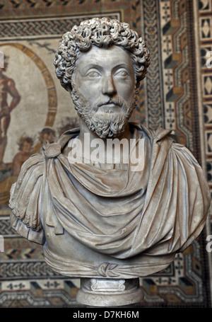 Marcus Aurelius (121-180). Roman Emperor from 161 to 180. Bust. Glyptothek. Munich. Germany. - Stock Photo