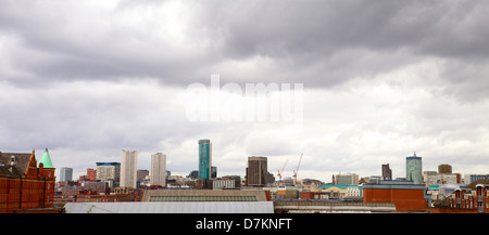 Panorama of Birmingham City Centre showing many of the tallest buildings in Birmingham - Cityscape on a cloudy day - Stock Photo