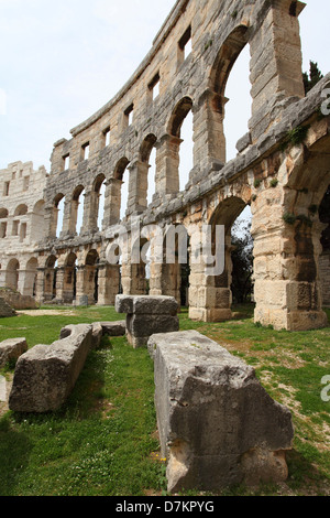 Pula Arena, dating from the Roman era, in Pula, Croatia. - Stock Photo