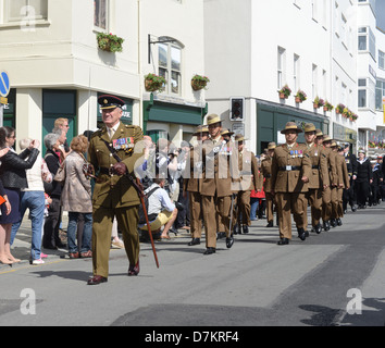 Gurkha troops on parade during Liberation Day celebrations in Guernsey - Stock Photo