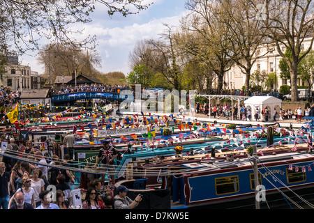 Narrowboat cavalcade gathering at Little Venice, London - Stock Photo