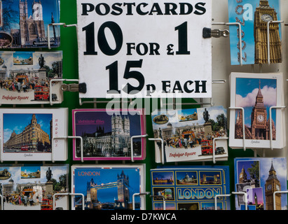 Postcards for sale in Gift Shop in London - Stock Photo