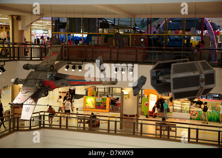 Star Wars replicas Rebel Alliance X-wing and Galactic Empire TIE fighters at 1 Utama Shopping Centre Petaling Jaya - Stock Photo