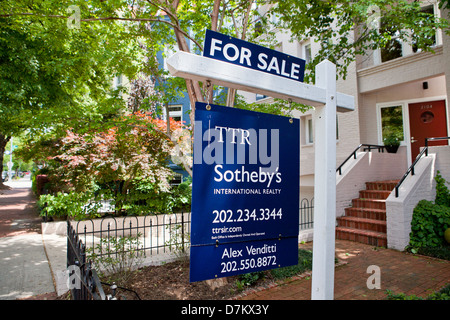Sotheby's Realty house sale sign - Washington, DC USA - Stock Photo