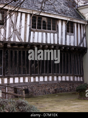 Ancient old oak timbered building, Wygston's House, the oldest house in Leicester dating from 1490, Leicester, England, - Stock Photo
