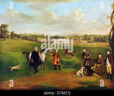Arthur Devis, Leak Okeover, Rev. John Allen and Captain Chester at Okeover Hall, Staffordshire 1745-1747 Oil on - Stock Photo