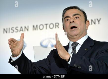 May 10, 2013, Yokohama, Japan - President Carlos Ghosn of Nissan Motor Co. gestures as he presents its annual net - Stock Photo