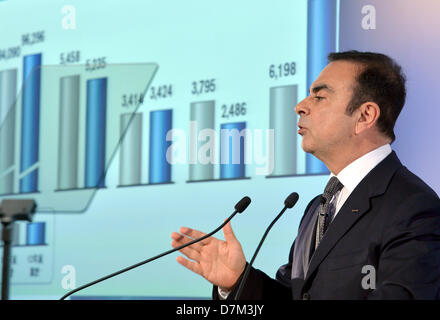 May 10, 2013, Yokohama, Japan - President Carlos Ghosn of Nissan Motor Co. gestures as he presents its annual net - Stock Photo