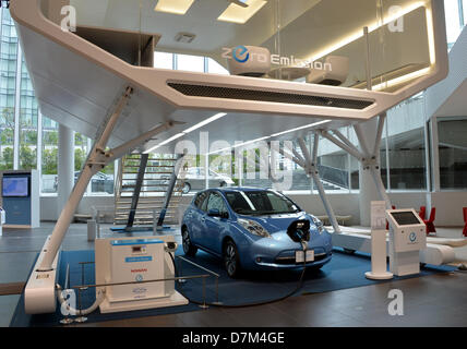 May 10, 2013, Yokohama, Japan - Nissan's electric vehicle Leaf sits at the spacious showroom of its head office - Stock Photo