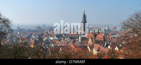 Panoramic of Freiburg im Briesgau, with Freiburg Münster - Stock Photo