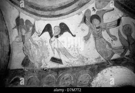Chapel Frescoes in Montoire-sur-le-Loir, France - Stock Photo