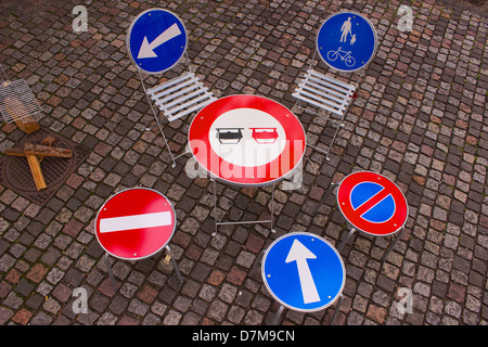 A table made of road signs - Stock Photo