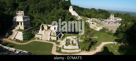 archeological site of Palenque on Chiapas, Mexico - Stock Photo