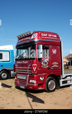 Essex Hay and Straw DAF XF105 RW54 EHS on display at Truckfest Peterborough 2013 - Stock Photo