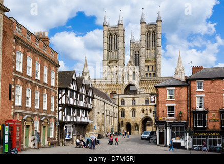 View of the Cathedral from Castle Hill, Lincoln, Lincolnshire, East Midlands, UK - Stock Photo