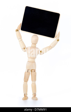 Wooden figurine with board - Stock Photo