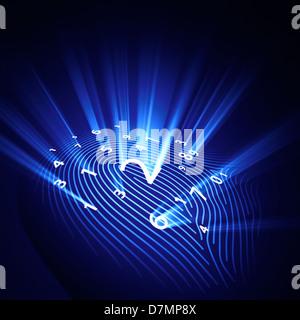 Digital fingerprint, conceptual artwork - Stock Photo