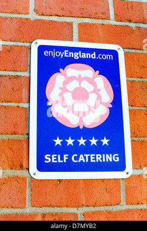 Self catering five star sign Shropshire England UK - Stock Photo