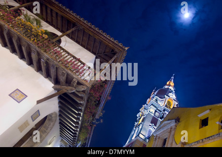 The Cathedral and typical balcony, old town, Cartagena, Colombia - Stock Photo