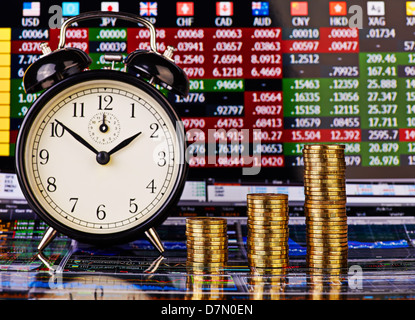 Three uptrend stacks of golden coins, clock and financial chart as background. Selective focus. - Stock Photo