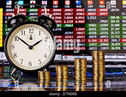 Uptrend stacks of golden coins, clock and financial chart as background. Selective focus. - Stock Photo