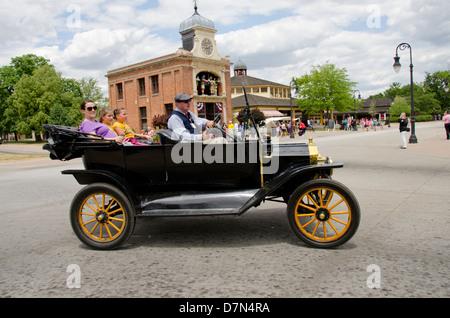 Michigan, Wyandotte. Greenfield Village. Vintage Ford convertible automobile. National Historical Landmark. - Stock Photo