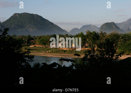 Morning view of the Nam Song River near Vang Vieng. - Stock Photo