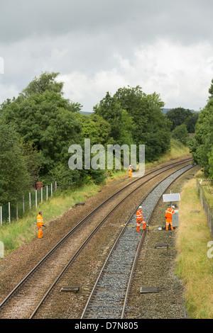 Network Rail maintenance staff working on trackside equipment on the Settle to Carlisle railway near Long Preston. - Stock Photo