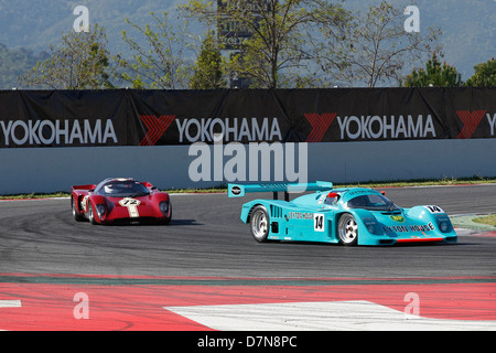 Group C race and Historic Sportscar practice at Barcelona Catalonia Classic Revival, Montmelo circuit, April 2013 - Stock Photo