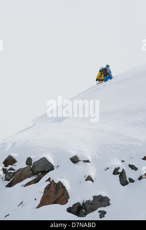 A skier and snowboarder standing on a top - Stock Photo