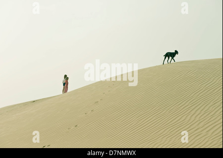A typical 'desert dog', a black saluki cross and children playing on sand dunes in the desert, Abu Dhabi - Stock Photo