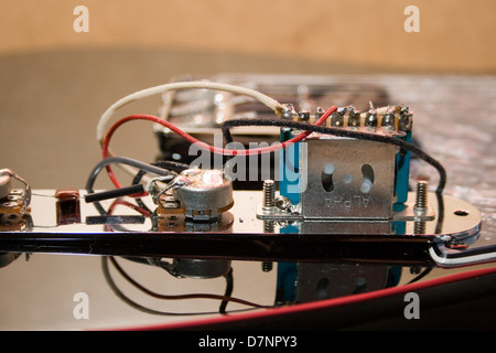 Electronic components of a telecaster type electric guitar Stock ...