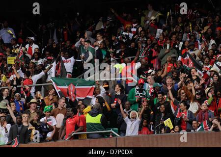 London, UK. 11th May 2013. Kenyan fans at the Marriott London Sevens in Twickenham Stadium. Credit: Elsie Kibue - Stock Photo