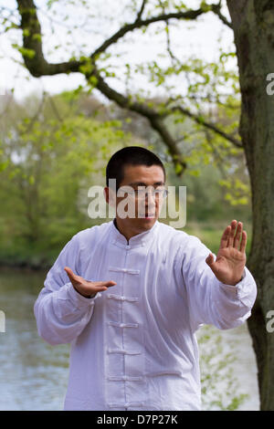 Preston, UK. 11th May 2013. A young performer demonstrates T'ai chi ch'uan often shortened to tai chi at the chinese - Stock Photo