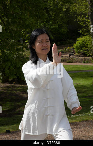 Preston, UK 11th May 2013.  Feixia Yu Director, Uclan Confucius Institute, demonstrates Taoist Tai Chi arts, at - Stock Photo