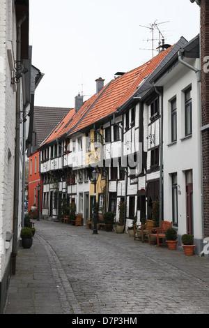 Old street in the center of Dusseldorf, Nordrhein-Westfalen, Germany. - Stock Photo