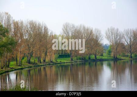 Weser river in Nienburg. - Stock Photo