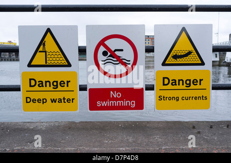 39 Deep Water 39 And 39 No Swimming 39 Signs By An Empty Reservoir Torside Stock Photo Royalty Free