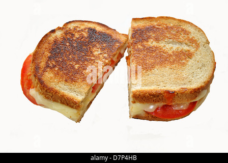 Grilled Cheese with Tomatoes Isolated on White - Stock Photo
