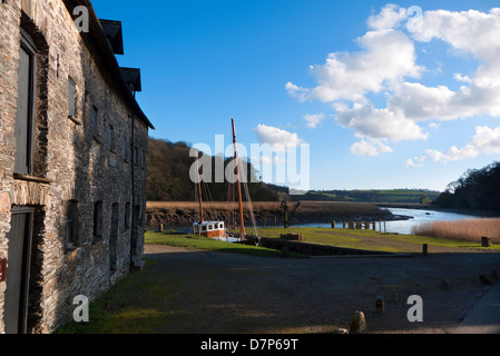 Cotehele Quay in the Tamar Valley in Cornwall. - Stock Photo