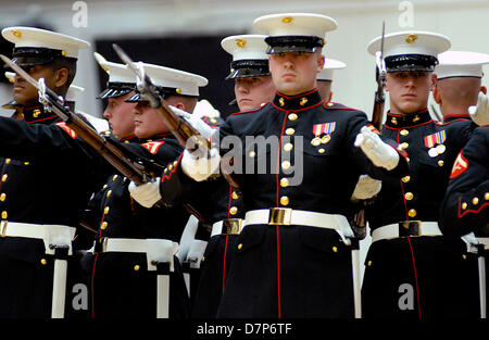 Colorado, U.S. May 11, 2013: The U.S. Marine Corps' elite Silent Drill Brigade perform following the Opening Ceremonies - Stock Photo