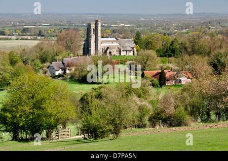 Bucks  Chiltern Hills - high level viewpoint - footpath to Ellesborough village - St Peter + St Paul's church - - Stock Photo