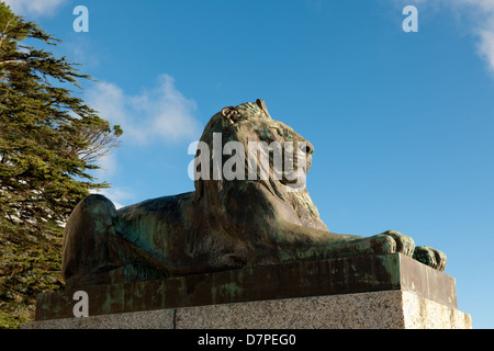 lion statue at Rhodes memorial, Cape Town, South Africa - Stock Photo