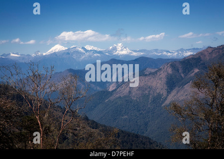 Eastern Himalaya mountains from Pele La pass . Bhutan. - Stock Photo