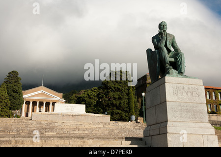 Statue of CJ Rhodes at UCT, University of Cape Town, South Africa - Stock Photo